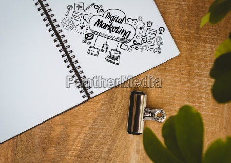 digital, marketing, doodle, on, notepad, next - 23287101