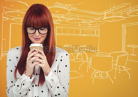 millennial woman drinking coffee against orange