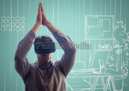 3d man in virtual reality headset