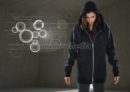 woman hacker standing on in front