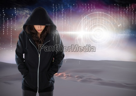 woman hacker hooded standing on in