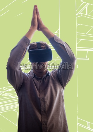 man in virtual reality headset against