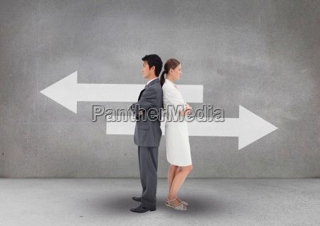 business people standing against grey background