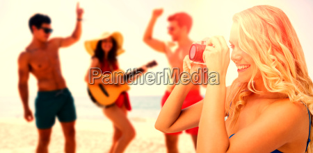 composite image of young woman taking