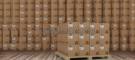 composite image of brown cardboard boxes