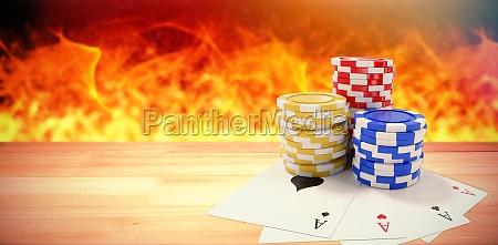zusammengesetztes bild der neigung von spielkarten