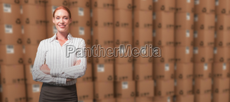 composite image of female manager with