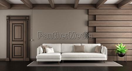 Entzuckend Lizenzfreies Bild 23339003   Weißes Sofa In Einem Eleganten Wohnzimmer