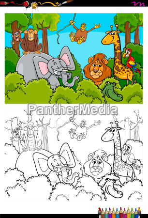 cartoon wild animal characters coloring book