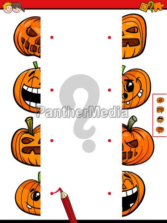 match halves game of halloween pumpkins