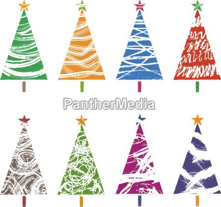 bunte weihnachtsbaumsammlungen grafische elemente