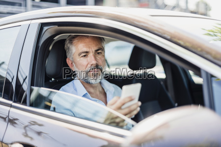 businessman looking at cell phone in