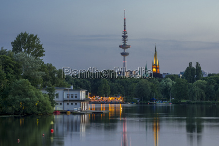 germany hamburg outer alster lake and