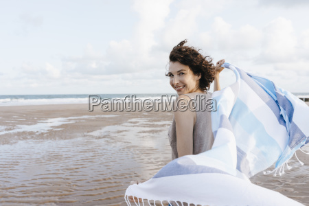 happy woman with cloth on the