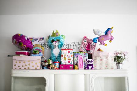 little girls birthday presents on a