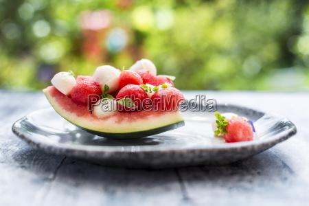 watermelon salad with mozzarella and basil