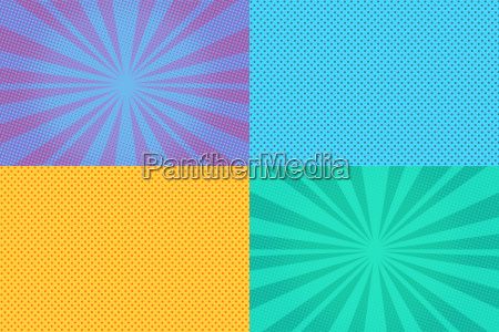 collection of colored pop art retro