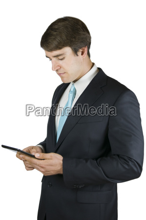 man with pad on white