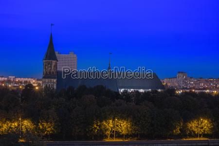 night cityscape of kaliningrad russia