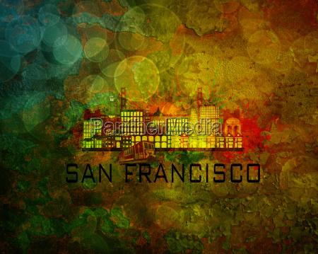 san francisco city skyline on grunge
