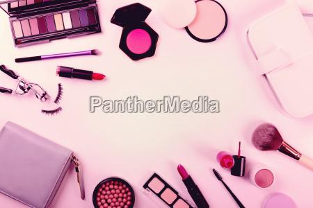 makeup cosmetics set top view with