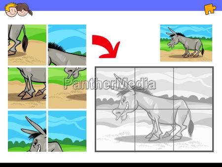 jigsaw puzzles with donkey farm animal