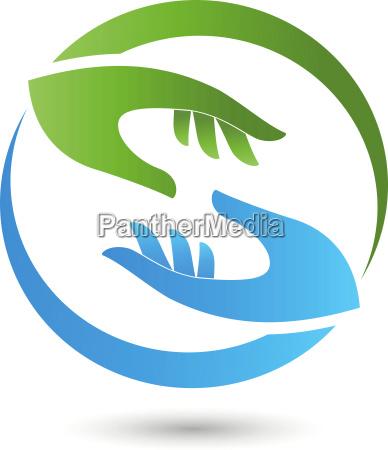 two hands helper team logo