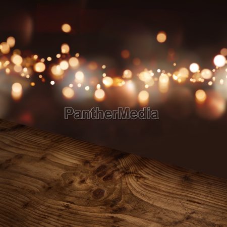 diagonal wooden table top with illuminated