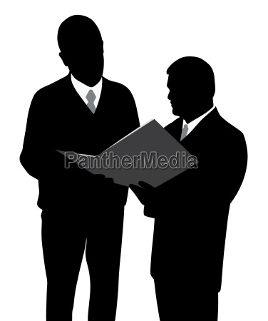 two businessmen engineers or architects looking