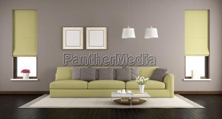 brown und gruenes wohnzimmer