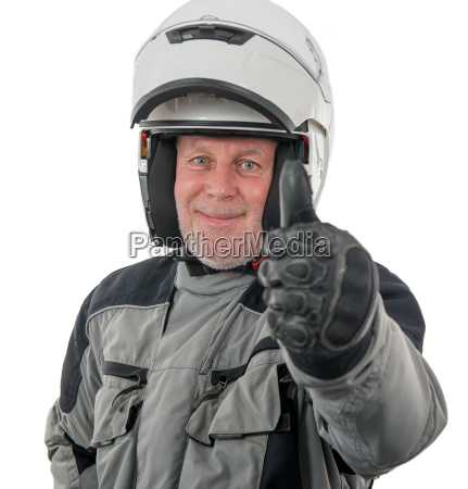 senior rider with white helmet isolated
