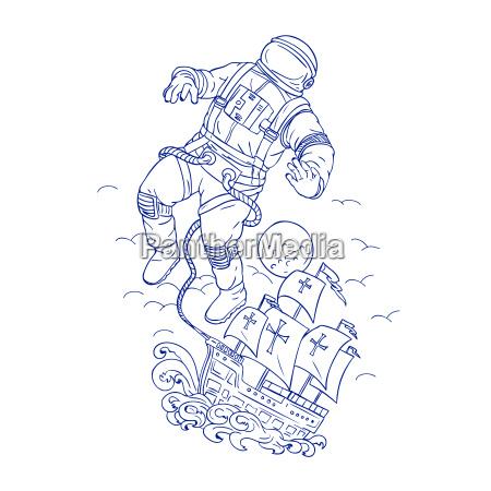 astronaut tethered caravel schiff zeichnung