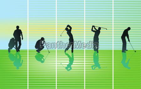 golfspieler auf green illustration