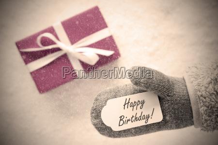 pink gift glove text happy birthday
