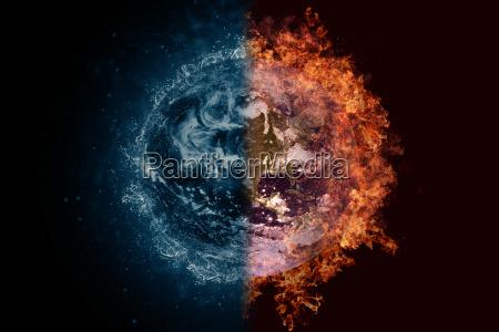 planet erde in wasser und feuer