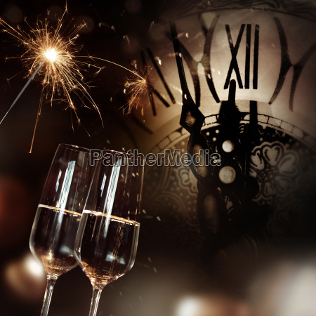 congratulations with champagne and clock for