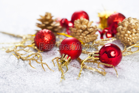 closeup on chrismas decorations