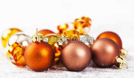 closeup on golden chrismas decorations