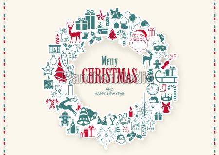 vintage christmas wreath background