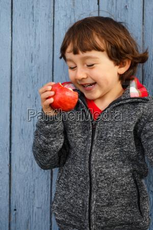 child apple fruit fruits eat laugh