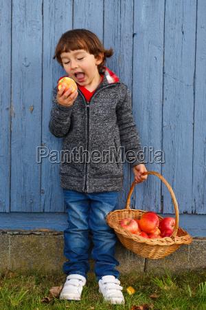 child apple fruit fruits eat whole