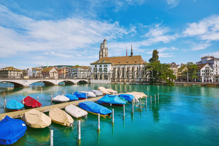 moored boats on limmat river