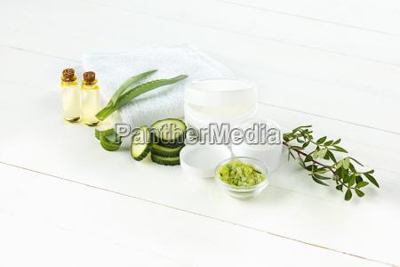 gurke, und, aloe, kosmetische, creme, gesicht, haut - 23413922
