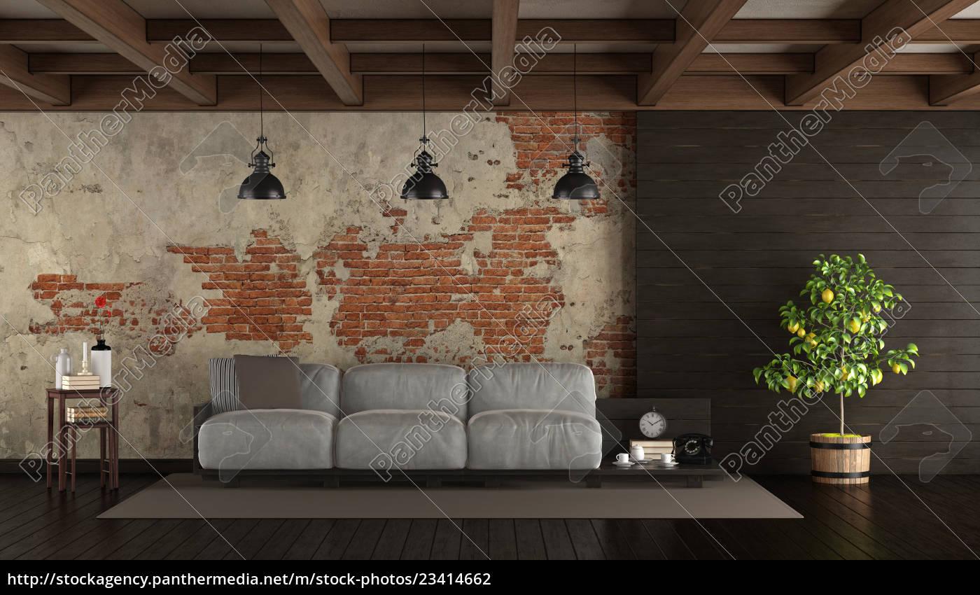 Stock Bild 17 - dunkles wohnzimmer im rustikalen stil