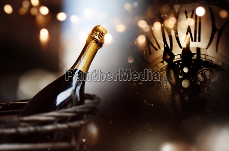 congratulations with a bottle of champagne
