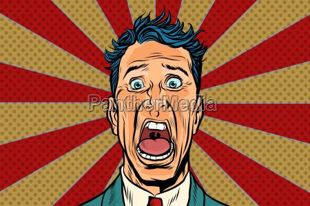 pop art mann schreit entsetzt panisches