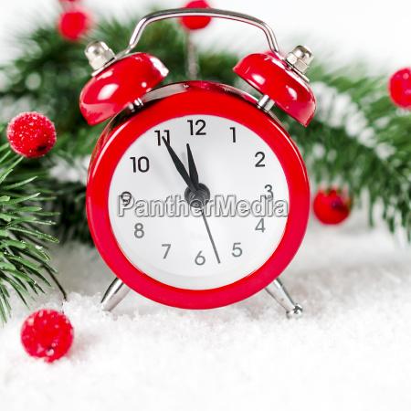 neujahrsuhr weihnachtsgrusskarte