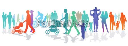 personengruppe mit familien und kinder illustration