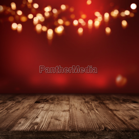 red illuminated scenery with golden bokeh