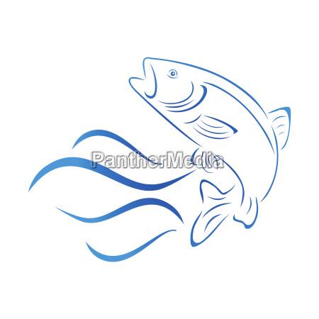 forelle und wellen fisch logo angeln